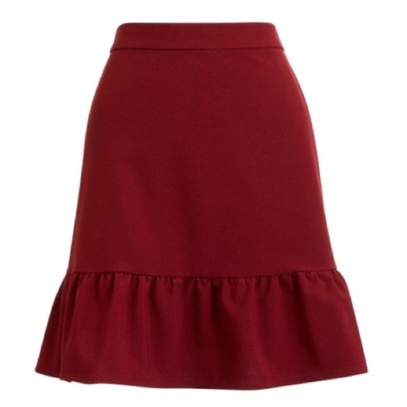 J. Crew Dresses & Skirts - J. CREW Mercantile Burgundy Flounce Mini Skirt